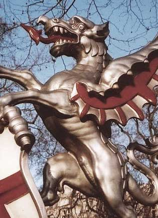 Statue of Draco guarding the entrance to the City - the world's financial Mecca -  Coincidence? Icke says no.