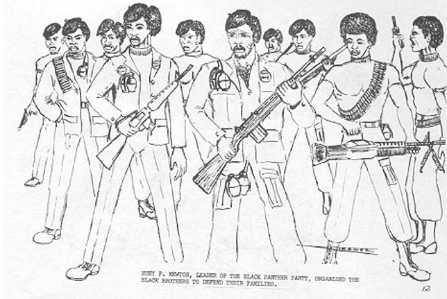 Huey P. Newton, leader of the Black Panther Party, organized the Black Brothers to defend their families.