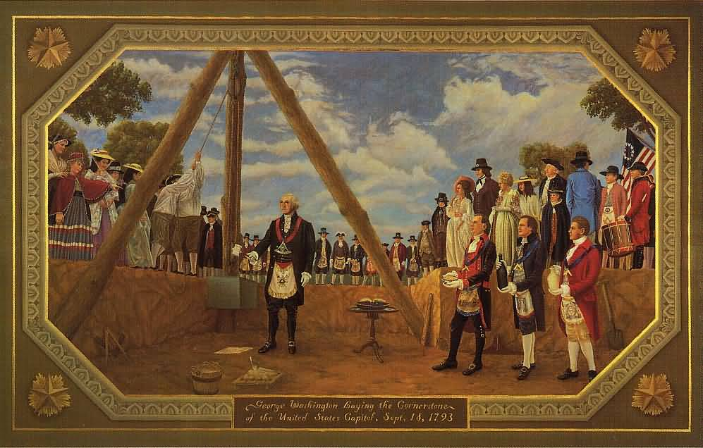 George Washington leveling the cornerstone of the United States Capitol