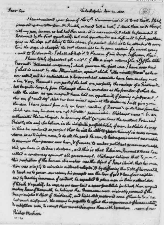 Thomas Jefferson letter to Bishop James Madison January 31, 1800