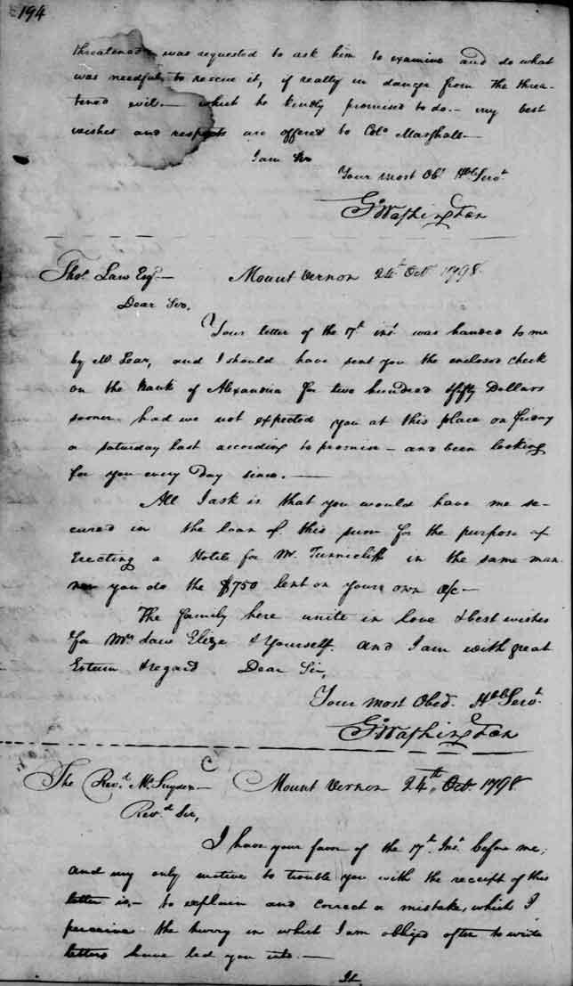 George Washington letter to George Washington Snyder October 24, 1798.