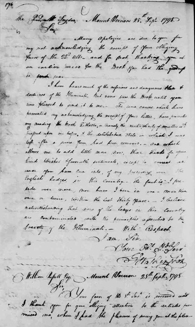 George Washington letter to George Washington Snyder September 25, 1798 (image transcript)