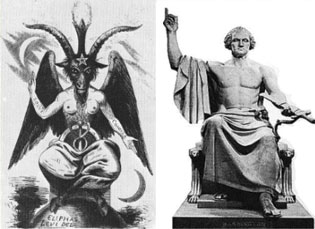 Washington posing Baphomet-style