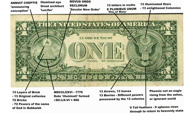 The Illuminati Symbol Great Seal And One Dollar Bill